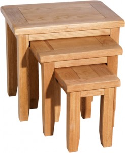 cumbria oak nest of tables, oak furniture
