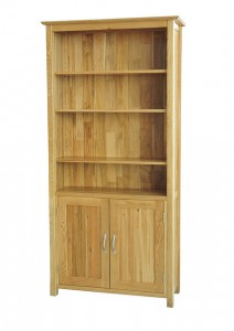 Cumbria oak bookcase with cupboard